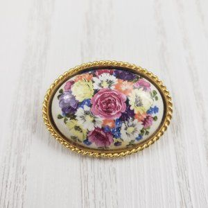 Vintage Painted Floral Glass Gold Tone Brooch Pin
